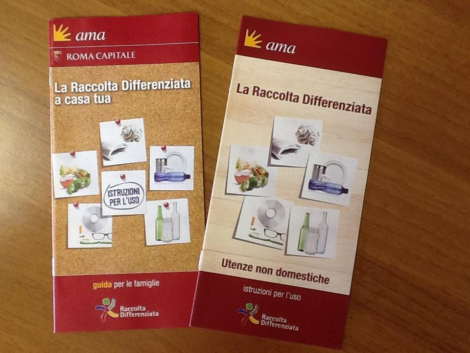 Materiale informativo AMA per differenziata e porta a porta