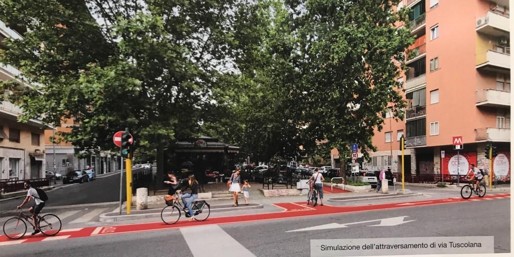 Simulazione dell'attraversamento di Via Tuscolana (dal volantino distribuito da Roma Capitale)
